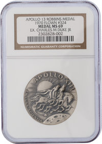 Apollo 13 Flown MS69 NGC Silver Robbins Medallion, Serial Number 324, Originally from the Personal Collection of Astrona...