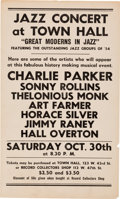 Music Memorabilia:Posters, Charlie Parker/Thelonious Monk Town Hall Small Poster (1954) VeryRare....