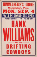 Music Memorabilia:Posters, Hank Williams Himmelreich's Grove Concert Poster (1950). Rare....