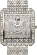 Timepieces:Wristwatch, Piaget, Protocole XXL, Fine and Very Rare 18k White Gold and Diamond Square Bracelet Watch, Circa 2000's. ...