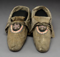 American Indian Art:Beadwork and Quillwork, A Pair of Huron Beaded and Quilled Hide Moccasins... (Total: 2Items)