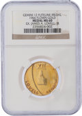 Explorers:Space Exploration, Gemini 12 Flown MS60 NGC Gold-colored Fliteline Medallion Originally from the Personal Collection of Mission Commander James L...