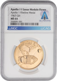 Apollo 11 Lunar Module Flown Apollo 1 MS64 NGC Gilt Fliteline Medallion Directly From The Armstrong Family Collection™...