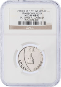 Gemini 12 Flown MS60 NGC Silver-colored Fliteline Medallion Originally from the Personal Collection of Mission Commander...