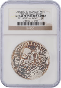 Apollo 13 Unflown PF65 Ultra Cameo NGC Silver Franklin Mint Medal, Serial Number 0119, Originally from the Personal Coll...