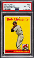 Baseball Cards:Singles (1950-1959), 1958 Topps Roberto Clemente (Yellow Letters) #52 PSA NM-MT 8. ...