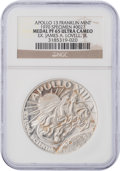 Explorers:Space Exploration, Apollo 13 Unflown PF65 Ultra Cameo NGC Silver Franklin Mint Medal,Serial Number 0027, Originally from the Personal Collection...