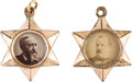 Political:Ferrotypes / Photo Badges (pre-1896), Grover Cleveland and Benjamin Harrison: Dual-Portrait Six-Pointed Star Fobs. ... (Total: 2 Items)