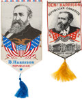 Political:Ribbons & Badges, Benjamin Harrison: Pair of Colorful Woven Silk Portrait Ribbons. ... (Total: 2 Items)