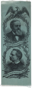 Political:Ribbons & Badges, Harrison and Reid: A Lovely Large 1892 Jugate Ribbon on Blue Silk...