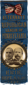 "Political:Ribbons & Badges, McKinley & Hobart: 1896 Ribbon Badge from Pennsylvania with Unusual 1 3/4"" Jugate Celluloid...."