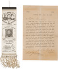 Political:Ribbons & Badges, Harrison & Morton: Pristine Jugate Ribbon with Presentation Letter....
