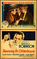 """Movie Posters:Crime, The Amazing Dr. Clitterhouse (Warner Brothers, 1938). Linen Finish Title Lobby Card and Lobby Card (11"""" X 14"""").. ... (Total: 2 Items)"""