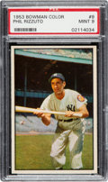 Baseball Cards:Singles (1950-1959), 1953 Bowman Color Phil Rizzuto #9 PSA Mint 9 - None Higher....