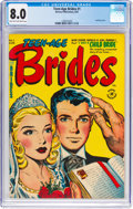 Golden Age (1938-1955):Romance, Teen-Age Brides #1 (Harvey, 1953) CGC VF 8.0 Light tan to off-whitepages....