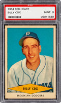 Baseball Cards:Singles (1950-1959), 1954 Red Heart Billy Cox PSA Mint 9 - None Higher....