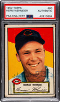 Autographs:Sports Cards, Signed 1952 Topps Herman Wehmeier #80 PSA/DNA Authentic. ...
