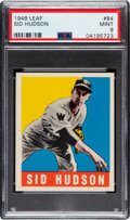 Baseball Cards:Singles (1940-1949), 1948 Leaf Sid Hudson #84 PSA Mint 9 - Pop Two, None Higher! ...