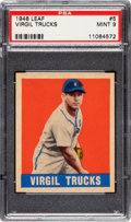 Baseball Cards:Singles (1940-1949), 1948 Leaf Virgil Trucks #5 PSA Mint 9 - The Greatest Example Known In the Hobby! ...