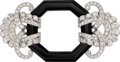 Estate Jewelry:Brooches - Pins, Diamond, Black Onyx, White Gold Necklace-Brooch . ...
