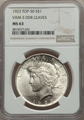 Peace Dollars, 1923 $1 Doubled Die Leaves, VAM-3, MS63 NGC. A Top 50 Variety. PCGS Population: (21/12). MS63....