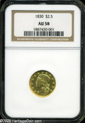 Early Quarter Eagles: , 1830 $2 1/2 AU58 NGC. Only one die pairing was used to strike the1830 Quarter Eagle, and it is identified by a repunched I...