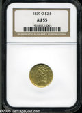 Classic Quarter Eagles: , 1839-O $2 1/2 AU55 NGC. High Date, Wide Fraction, Breen-6152, McCloskey-A, R.3. Generally bright with tinges of light reddi...