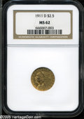 Indian Quarter Eagles: , 1911-D $2 1/2 MS62 NGC. The 1911-D Quarter Eagle has a very low mintage of only 55,680 pieces. It is the key issue in the s...