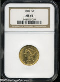Liberty Half Eagles: , 1885 $5 MS65 NGC. Brilliant, frosty, and sharply struck.Outstanding in every way. Liberty's hair details are bold, andall...