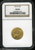 Indian Half Eagles: , 1913-S $5 AU50 NGC. Bright brassy surfaces display traces ofluster, and a few minor contact marks scattered about. The des...