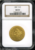 Liberty Eagles: , 1841 $10 AU53 NGC. This better date No Motto Ten has abundantbright luster and little evident friction on the devices. The...