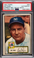 Autographs:Sports Cards, Signed 1952 Topps Baseball Joe Page (Correct Bio-Black) #48 PSA/DNAAuthentic. ...