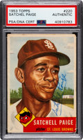 Autographs:Sports Cards, Signed 1953 Topps Satchell Paige #220 PSA/DNA Authentic. ...