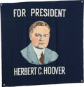 Political:Textile Display (1896-present), Herbert Hoover: Multicolored Portrait Banner....