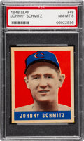 Baseball Cards:Singles (1940-1949), 1948 Leaf Johnny Schmitz #48 PSA NM-MT 8 - None Higher! ...