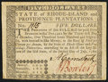 Colonial Notes:Rhode Island, Rhode Island July 2, 1780 $5 Very Fine-Extremely Fine.. ...