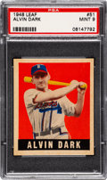 Baseball Cards:Singles (1940-1949), 1948 Leaf Alvin Dark #51 PSA Mint 9 - Pop One, None Higher! ...