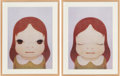 Fine Art - Work on Paper:Print, Yoshitomo Nara (b. 1959). Eyes Open, Eyes Shut, fromCosmic Girl, (two works), 2008. Offset lithographs in colorson... (Total: 2 Items)
