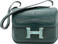 Luxury Accessories:Bags, Hermès Special Order Horseshoe 24cm Matte Vert Fonce Alligator Constance Bag with Turquoise Hardware. C, 2018. Conditi...