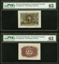 Fractional Currency:Second Issue, Fr. 1283SP 25¢ Second Issue Wide Margin Pair PMG Choice Uncirculated 63.. ... (Total: 2 notes)