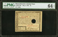Colonial Notes:Massachusetts, Massachusetts May 5, 1780 $5 Hole Cancel PMG Choice Uncirculated 64 EPQ.. ...