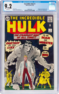 The Incredible Hulk #1 (Marvel, 1962) CGC NM- 9.2 White pages