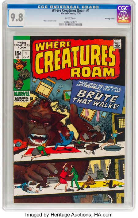 Where Creatures Roam #1 Bowling Green Pedigree (Marvel, 1970) CGC NM/MT 9.8 White pages....