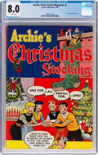 Archie Giant Series Magazine #1 Archie's Christmas Stocking (Archie, 1954) CGC VF 8.0 White pages