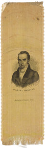 Political:Ribbons & Badges, Daniel Webster: Very Rare Campaign Ribbon on Yellow Silk....