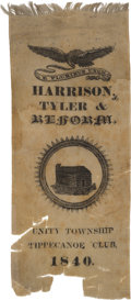 Political:Ribbons & Badges, William Henry Harrison: A Most Distinctive Large 1840 Silk Ribbon from Unity Township, Pennsylvania....