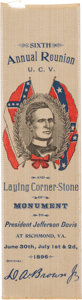 Political:Ribbons & Badges, Jefferson Davis: Colorful United Confederate Veterans (U.C.V.) Ribbon from Laying of Corner-stone of the Davis Monument in Ric...