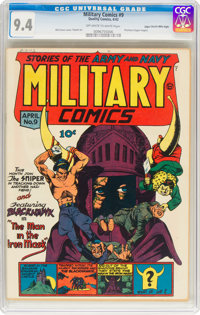 Military Comics #9 Mile High Pedigree (Quality, 1942) CGC NM 9.4 Off-white to white pages