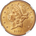 Liberty Double Eagles, 1893-CC $20 MS62 NGC. Variety 2-A....