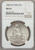 Peru:South Peru, Peru: South Peru. Republic Sol 1884-RD MS63 NGC,...
